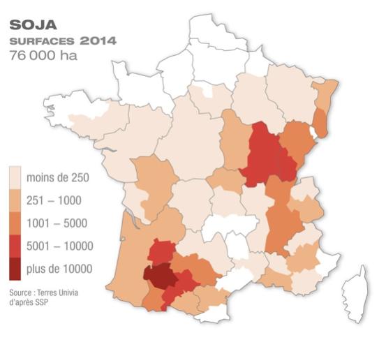 Zones production soja France